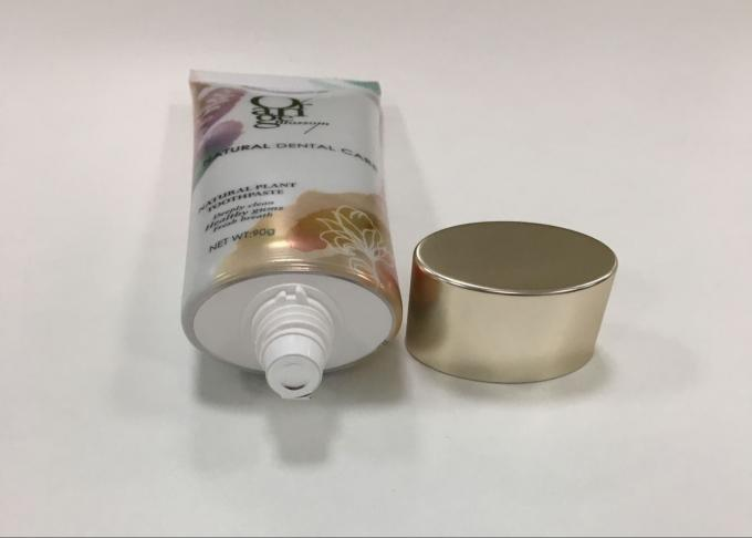 Aluminum Barrier Flat Oval Toothpaste Tube Φ35 375μ With Gold Plating Cap