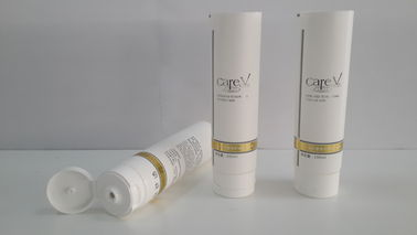 China Hot Stamping White round plastic tubes , Laminated Cosmetic Tube With Screw On Flip On Cap supplier