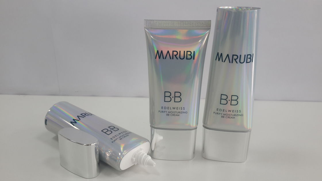 Metallic Flat Oval Holographic Laminate Cosmetic Tube Packaging Colorful Nature Gloss Laser material