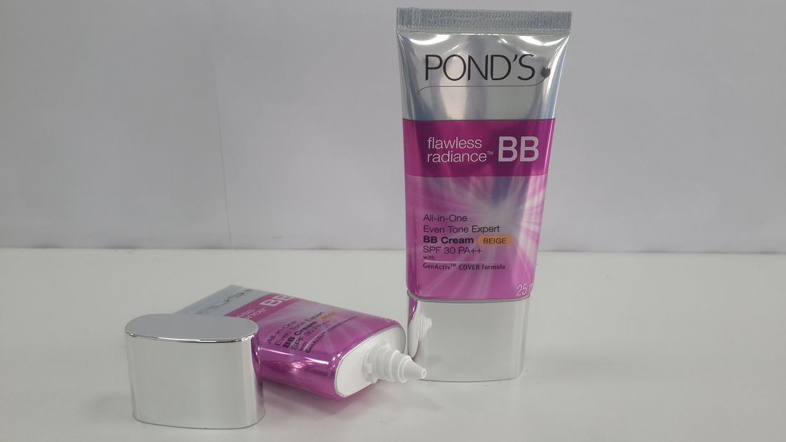 GMP Glossy Coating Aluminum Barrier Flat Oval Tube, Cosmetic Packaging for BB cream, wrinkle serum