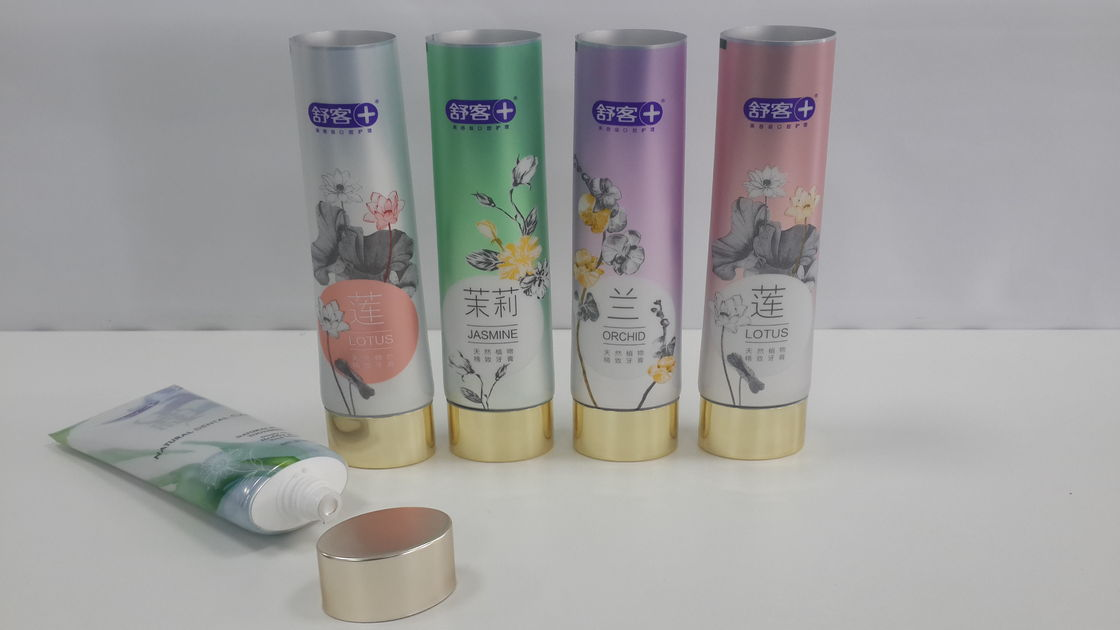 D35 90g Flat Oval Elliptical Toothpaste Tube Golden Stamping Offset Flexo Printing