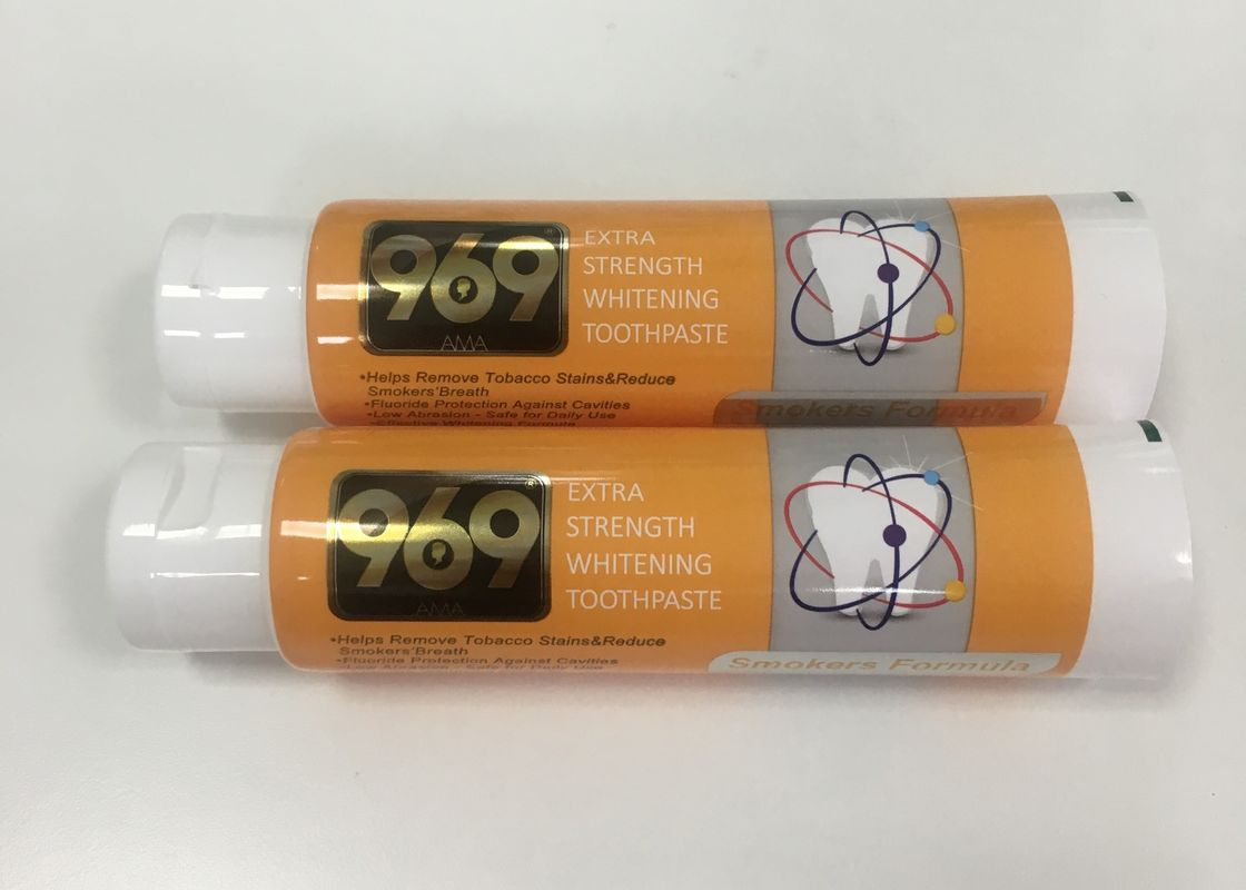 Whitening Toothpaste Plastic Tube Package With Big Flip Top Cap , DIA40*138mm